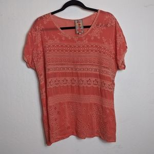 Johnny Was Coral Tunic size Large